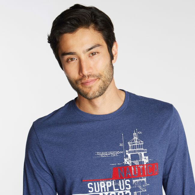 NS-83 SURPLUS LONG SLEEVE GRAPHIC TEE,Deep Navy Heather,large