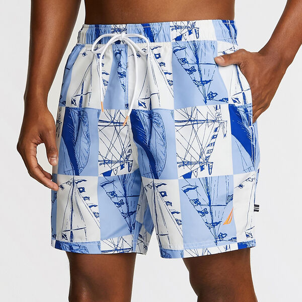 "6"" Full Elastic Swim Trunk in Boat Sails Print - Silver Lake Blue"