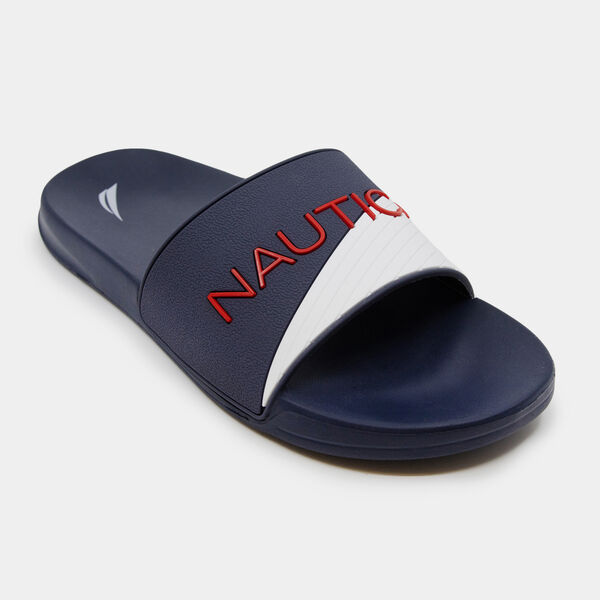 TEXTURED COLORBLOCK LOGO SLIDE SANDALS - Ice Blue