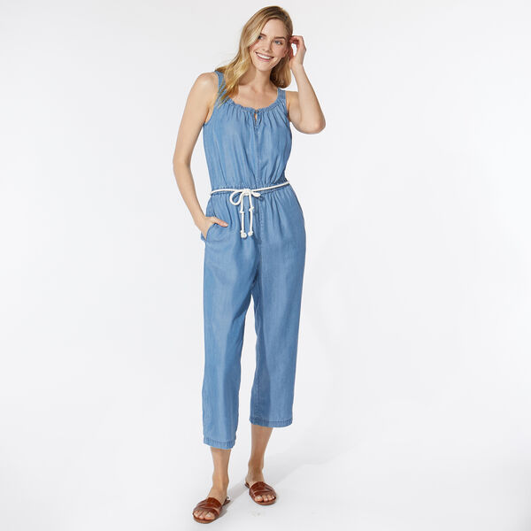 NAUTICA JEANS CO. TIE BELT DENIM JUMPSUIT - Distressed Blue Wash