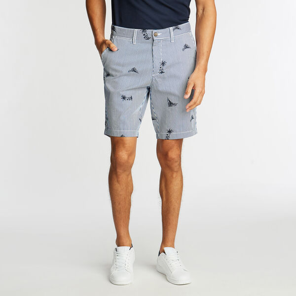 "8.5"" SLIM FIT SHORT IN PRINTED STRIPE    - Navy"