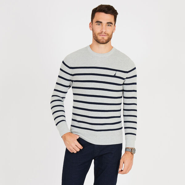 Navtech Breton Stripe Crewneck Sweater - Grey Heather