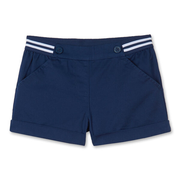 TODDLER GIRLS' STRIPED WAIST TWILL SHORTS (2T-4T) - Aqua Isle