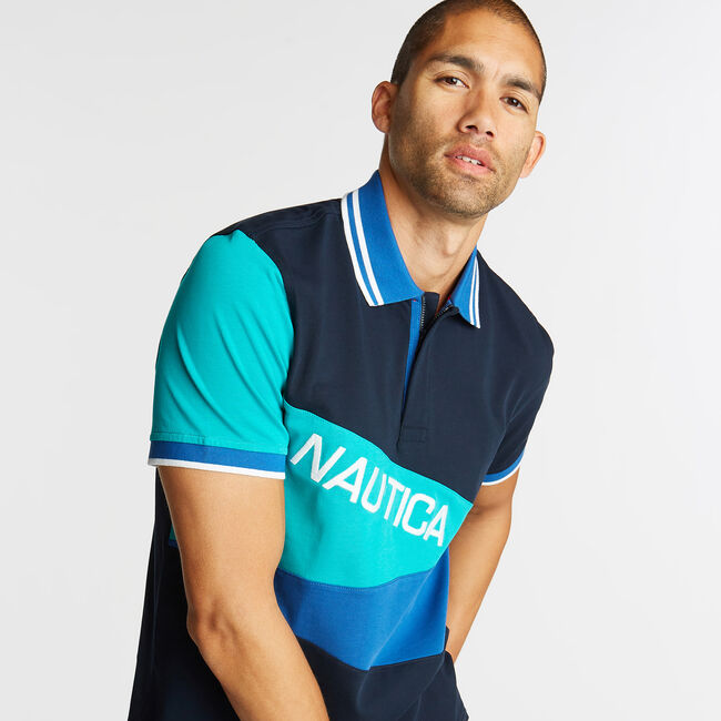 CLASSIC FIT JERSEY POLO IN DIAGONAL COLORBLOCK,Pure Dark Pacific Wash,large