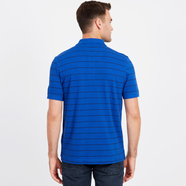 Classic Fit Mesh Polo in Breton Stripe,Bright Cobalt,large