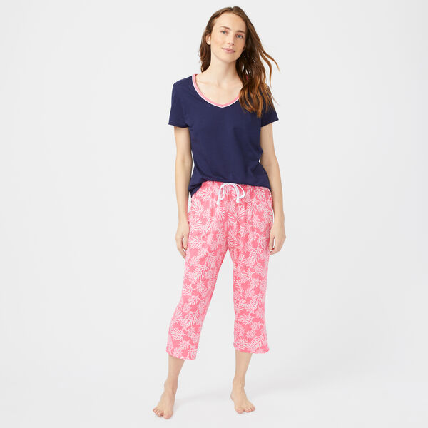 BRANCH PRINT V-NECK PANT PAJAMA SET - Neon Orange