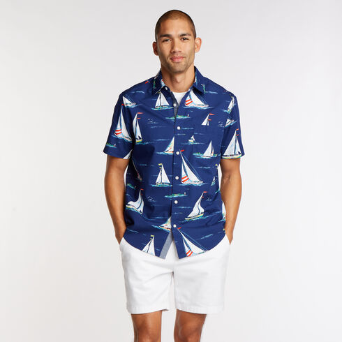 Short Sleeve Classic Fit Shirt in Sail Print - Blue Depths