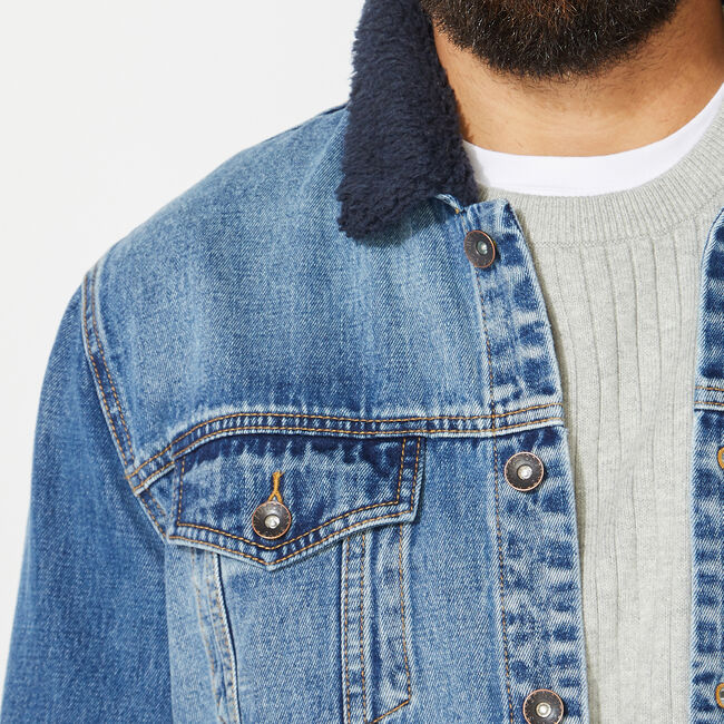 NAUTICA JEANS CO. SHERPA COLLAR DENIM JACKET,Varsity Blue Wash,large