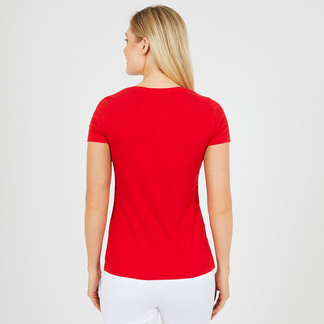 American Flag Short Sleeve T-Shirt,Tomales Red,large