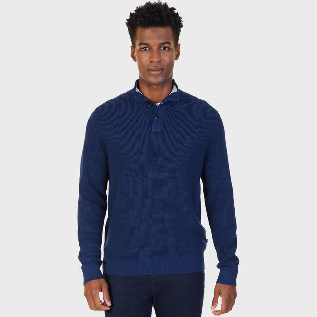 Buttoned Shawl Collar Sweater,Bayberry Blue,large