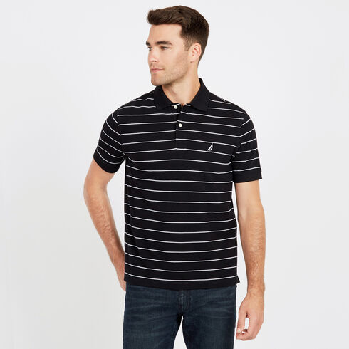 Short Sleeve Classic Fit Striped Pique Polo - True Black
