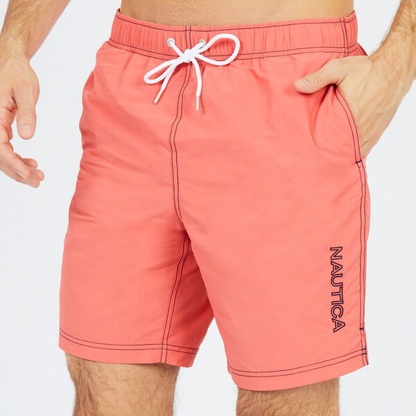 "8"" SOLID EMBROIDERED LOGO SWIM TRUNKS - Spiced Coral"