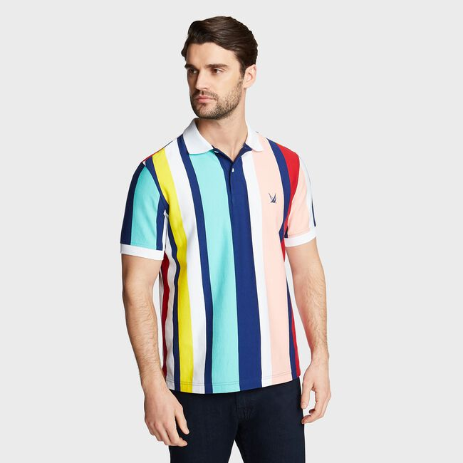 BIG & TALL JERSEY POLO IN STRIPE,Blue Depths,large