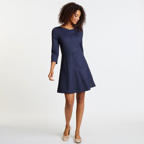 Faux Denim V-Neck Tiered Dress - Deep Sea