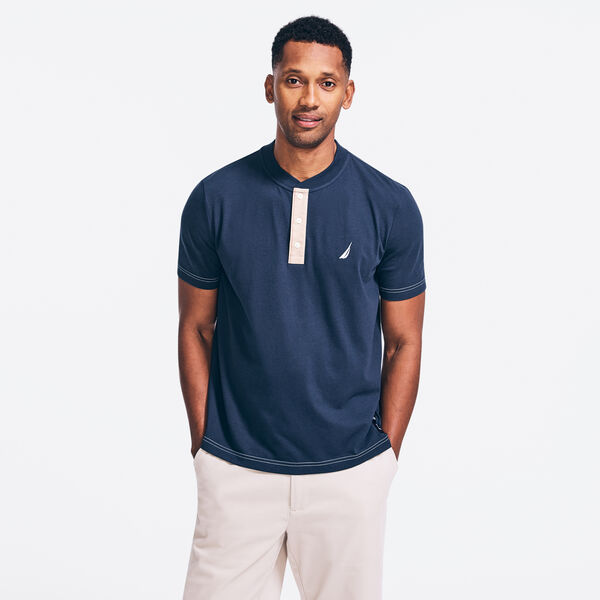 SUSTAINABLY CRAFTED SHORT SLEEVE HENLEY - Navy
