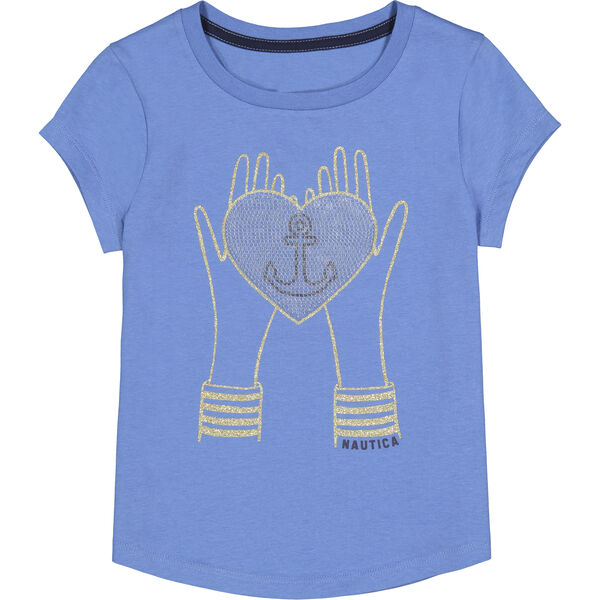 TODDLER GIRLS' HANDS AND HEART GRAPHIC T-SHIRT (2T-4T) - Coastline Turq