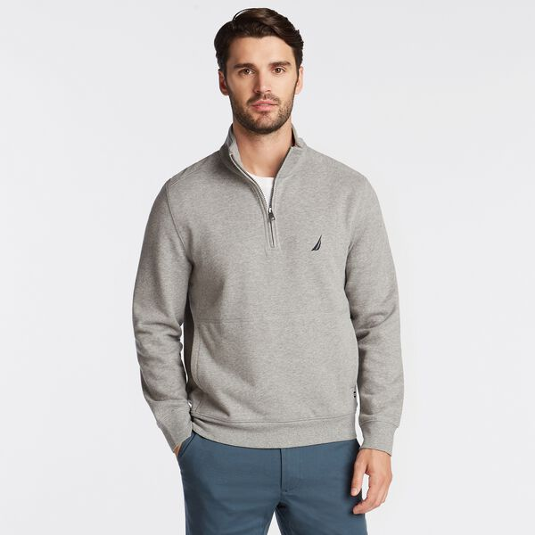 BIG & TALL QUARTER ZIP FLEECE PULLOVER - Stone Grey Heather