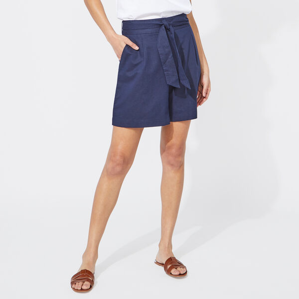 "8"" BELT-ACCENTED HIGH WAIST SHORTS - Stellar Blue Heather"