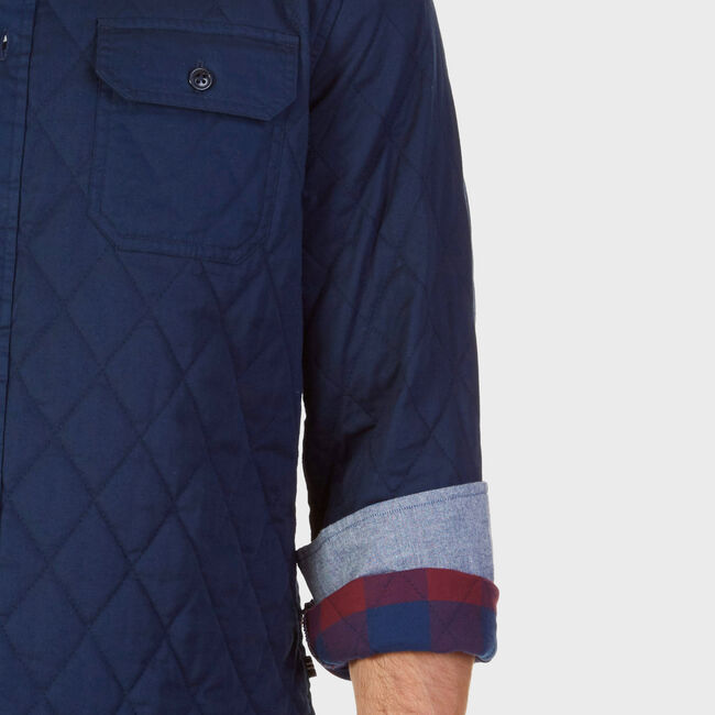 Quilted Twill Classic Fit Button Down,Peacoat,large