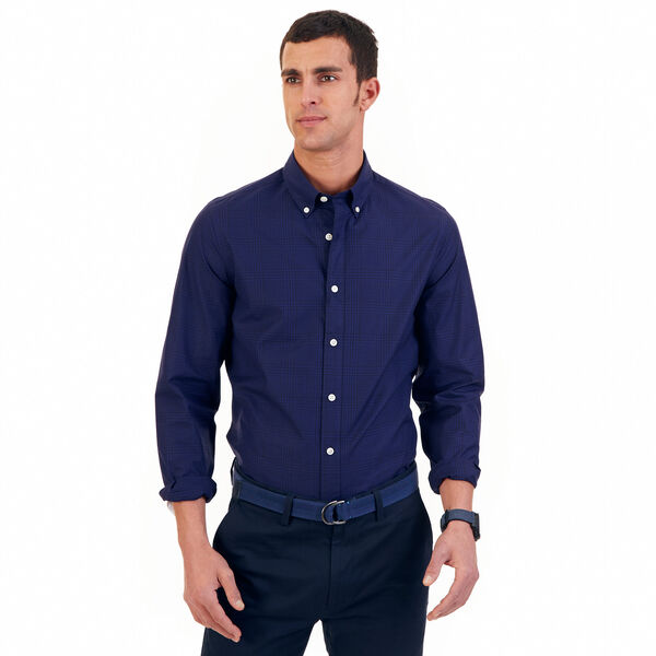 Tailored Fit Night Sky Plaid Shirt - Blue Mist Pantone