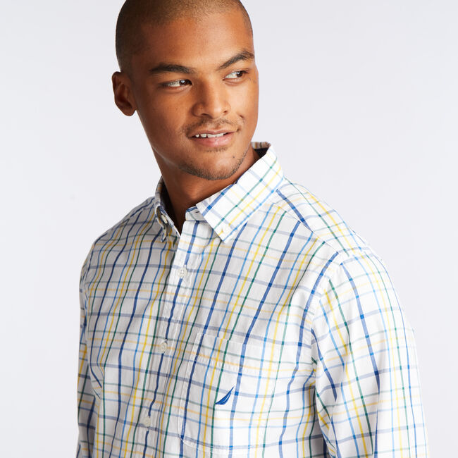 CLASSIC FIT POPLIN SHIRT IN BRIGHT OPEN PLAID,Bright White,large
