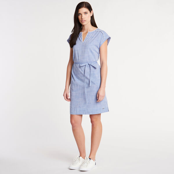 Embroidered Chambray Shift Dress - Bayberry Blue