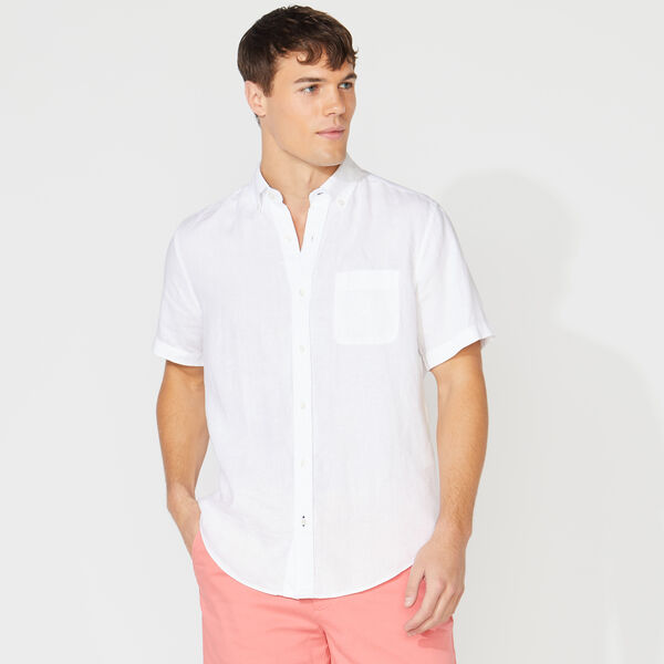 CLASSIC FIT SHORT SLEEVE LINEN SHIRT - Bright White