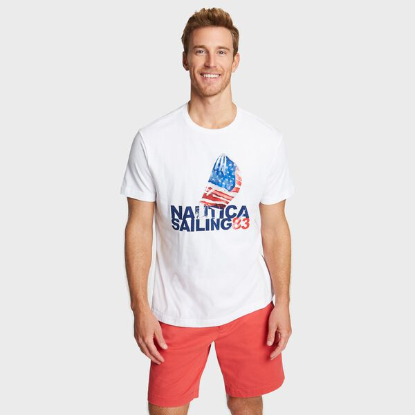 BIG & TALL MARITIME SAIL GRAPHIC T-SHIRT - Bright White