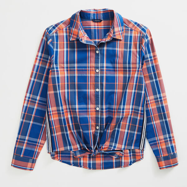 PLAID TIE-FRONT POPLIN SHIRT - Windsurf Blue