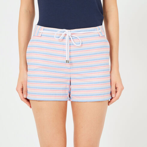 "Striped Shorts with Rope Belt - 4"" Inseam - Bright White"
