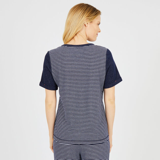 Solid + Striped Short Sleeve Pajama Top,Crystal Bay Blue,large