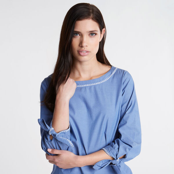 Embroidered Chambray Tie Cuff Top - Bluefish
