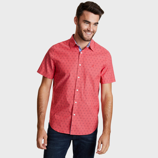SHORT SLEEVE OXFORD SHIRT IN ROSE GEO PRINT,Coral Cape,large