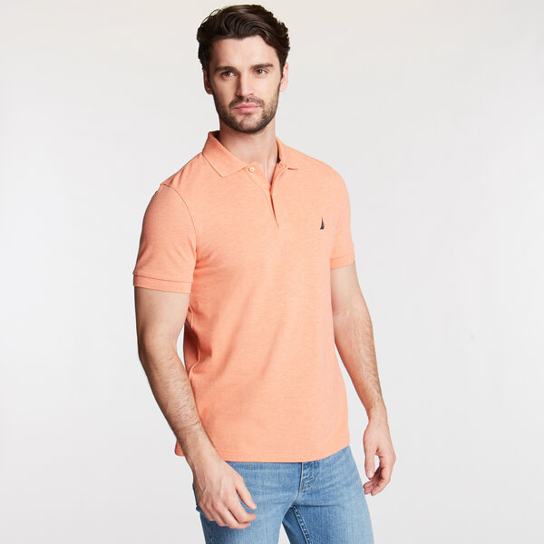 SLIM FIT MESH POLO - Coral Reef Heather