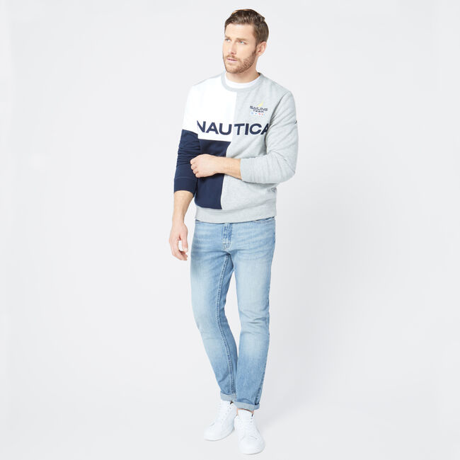 NAUTICA LOGO COLORBLOCK SWEATSHIRT,Grey Heather,large
