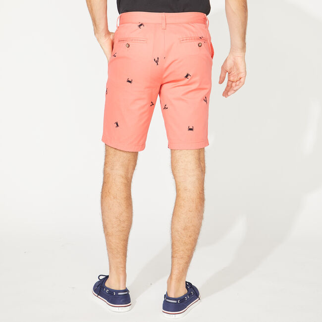 SLIM FIT SEA LIFE PRINT SHORTS,Spiced Coral,large