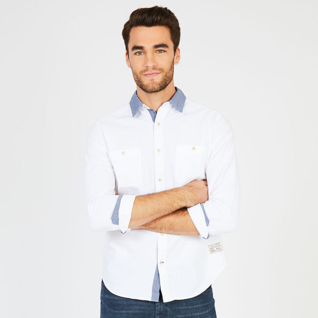 Classic Fit Colored Chambray Button-Down Shirt,Bright White,large