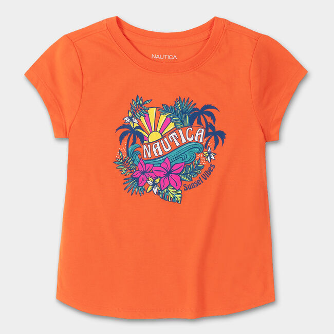 TODDLER GIRLS' TROPICAL GLITTER GRAPHIC T-SHIRT (2T-4T),Nasturtium,large