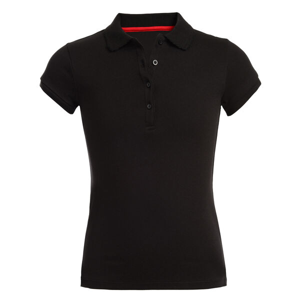 GIRL'S SHORT SLEEVE POLO - Black
