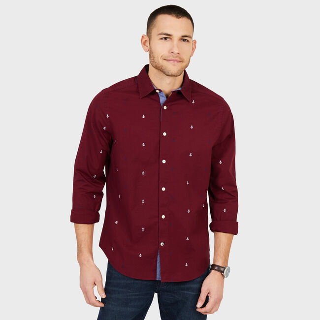 Big & Tall Anchor Motif Classic Fit Oxford Shirt,Zinfandel,large