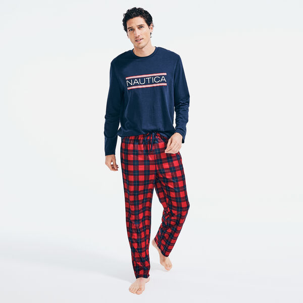 MEN'S LOGO AND PLAID FAMILY SLEEP SET - Lure Red