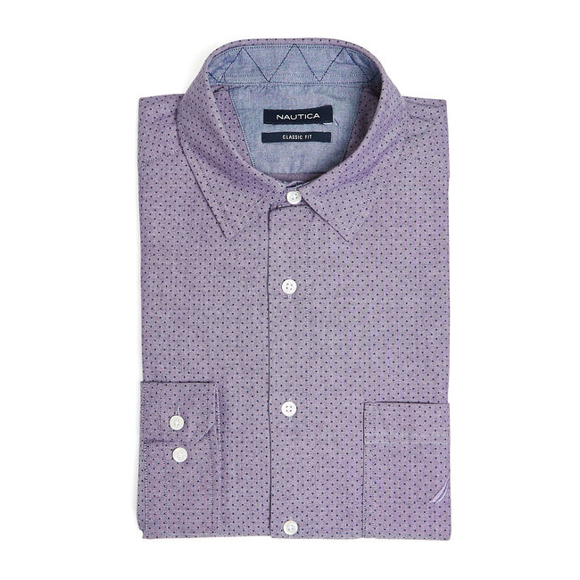 CLASSIC FIT LONG SLEEVE CHAMBRAY PRINTED SHIRT,Blackberry,large