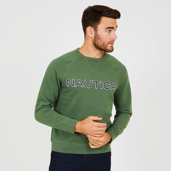 Long Sleeve Fleece Crewneck Sweatshirt - Green Glow
