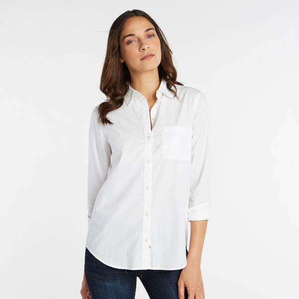 NAUTICA JEANS CO.  EMBROIDERED LOGO BOYFRIEND SHIRT - Bright White