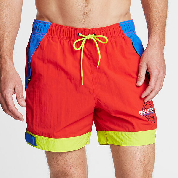 "6"" COMPETITION SWIM TRUNK IN COLORBLOCK - Firey Red"