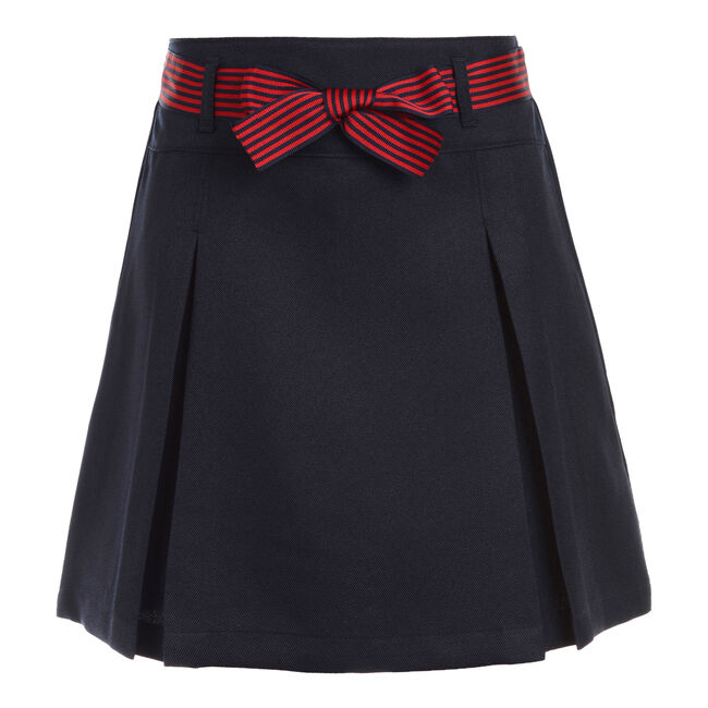 Little Girls' Pleated Skort with Striped Bow (4-6X),Crystal Bay Blue,large