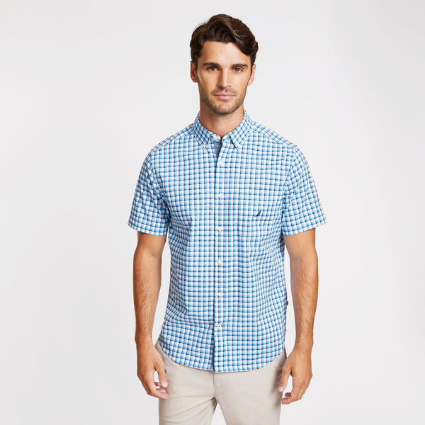 Short Sleeve Classic Fit Shipyard Plaid Shirt - Bright White