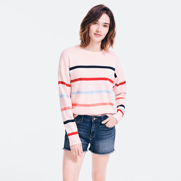 SUSTAINABLY CRAFTED STRIPED SWEATER - Bow Burgundy