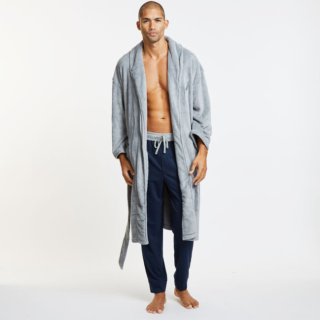 Solid Shawl Collar Plush Robe,Charcoal Hthr,large