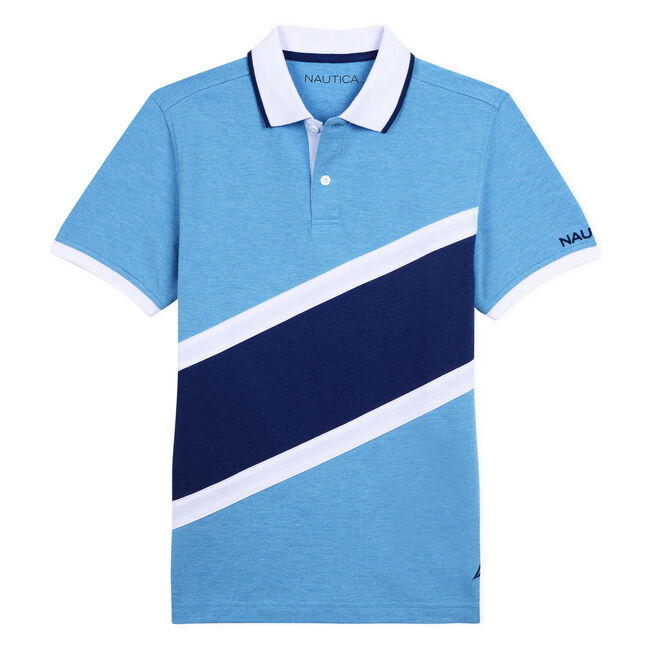 BOYS' FINN HERITAGE POLO IN DIAGONAL COLORBLOCK,Star Turquoise,large